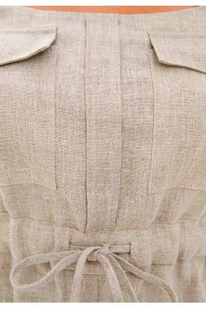 Комбинезон льняной белый на завязках CORDA
