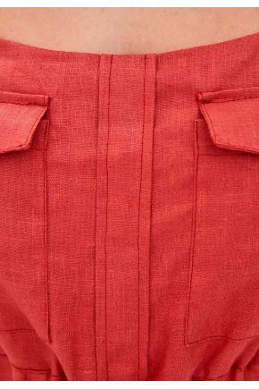 Комбинезон льняной белый на завязках Красный