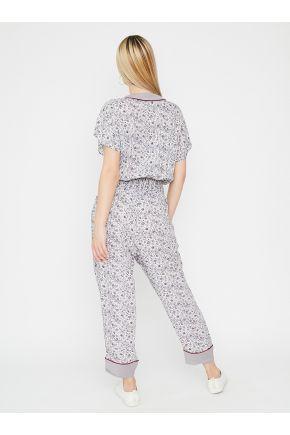 Комбинезон женский с узкими брюками в цветочек