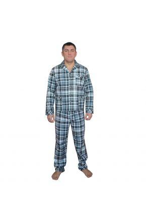 Пижама мужская фланелевая Клеточка синяя