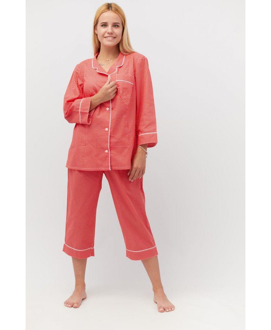 Пижама ситцевая Красная в горох