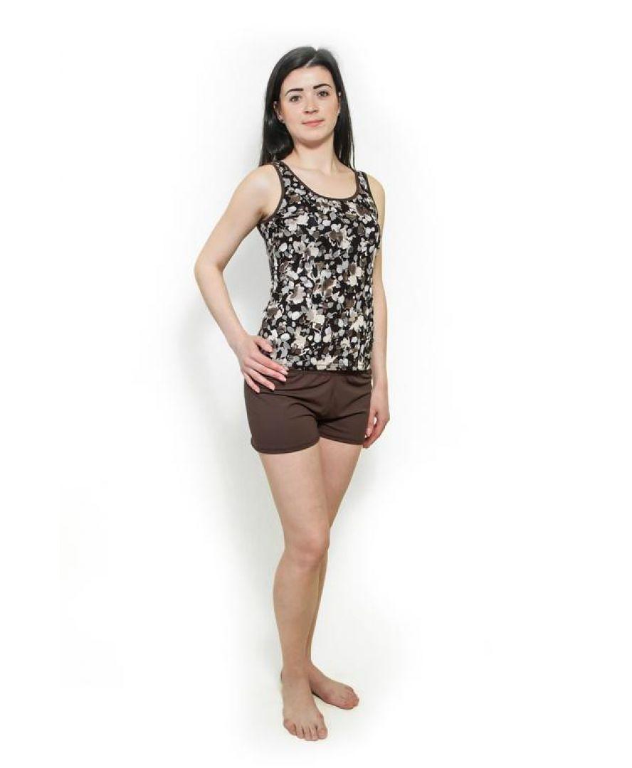 Пижама трикотажная коричневые цветы