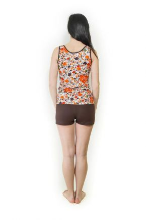 Пижама трикотажная оранжевые цветы