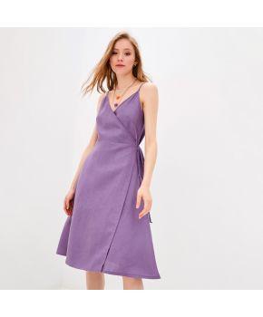 Платье льняное на запах Фиолет