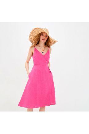 Платье льняное на запах Фуксия