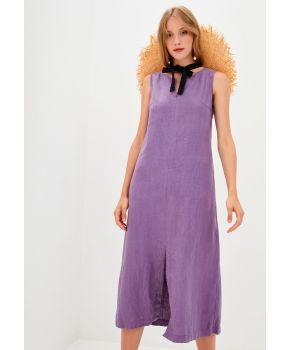 Платье льняное длинное Фиолет