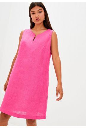 Платье льняное короткое Фуксия