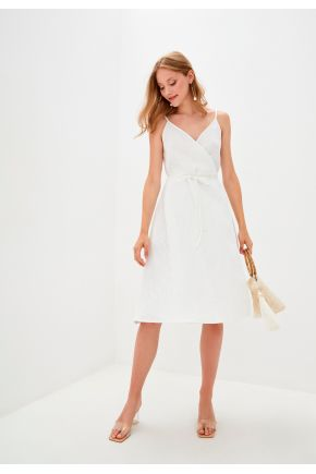 Платье льняное на запах Белое