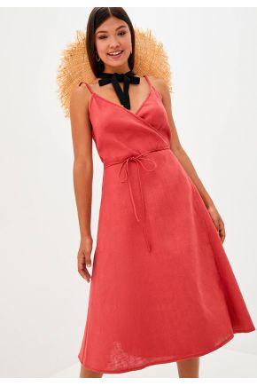 Платье льняное на запах Красное