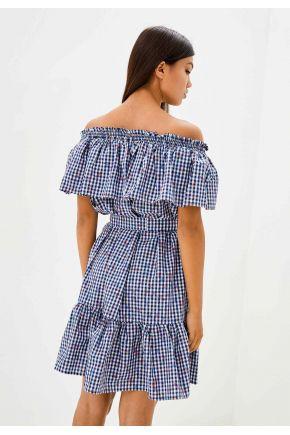 Короткое платье голубая клеточка ТМ Прованс