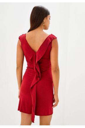 Короткое трикотажное платье бордовое