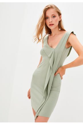 Летнее трикотажное платье хаки