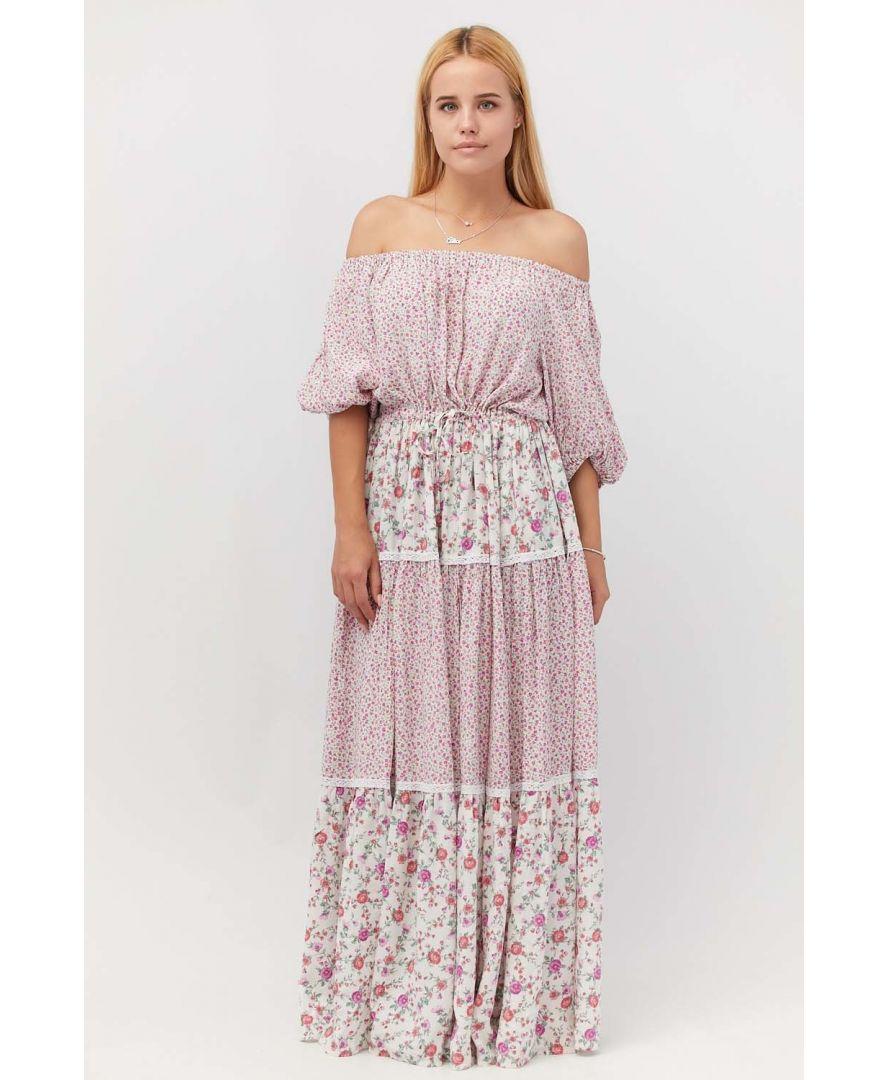 Платье в пол в цветочек розовое
