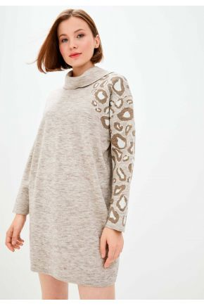 Платье вязаное ПРИНТ латте