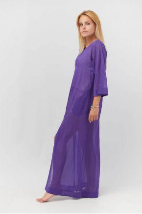 Туника пляжная длинная фиолетовая