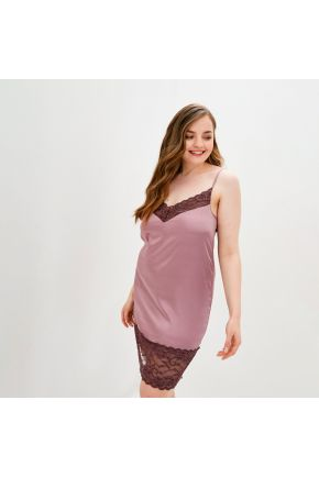 Сорочка атласная с кружевом Прованс by Vona розовая