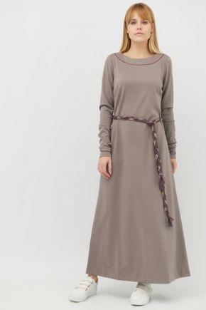 Платье трикотажное Франция беж серый