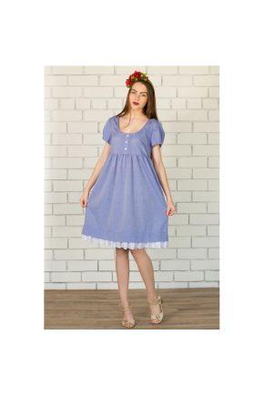 Платье отрезное с кружевом