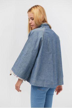 Ветровка короткая джинс синий