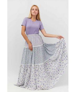 Юбка длинная в цветочек фиолетовый
