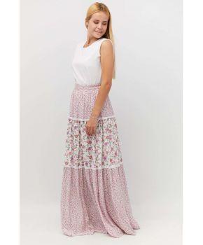 Юбка длинная в цветочек розовый