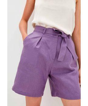 Шорты льняные фиолетовые