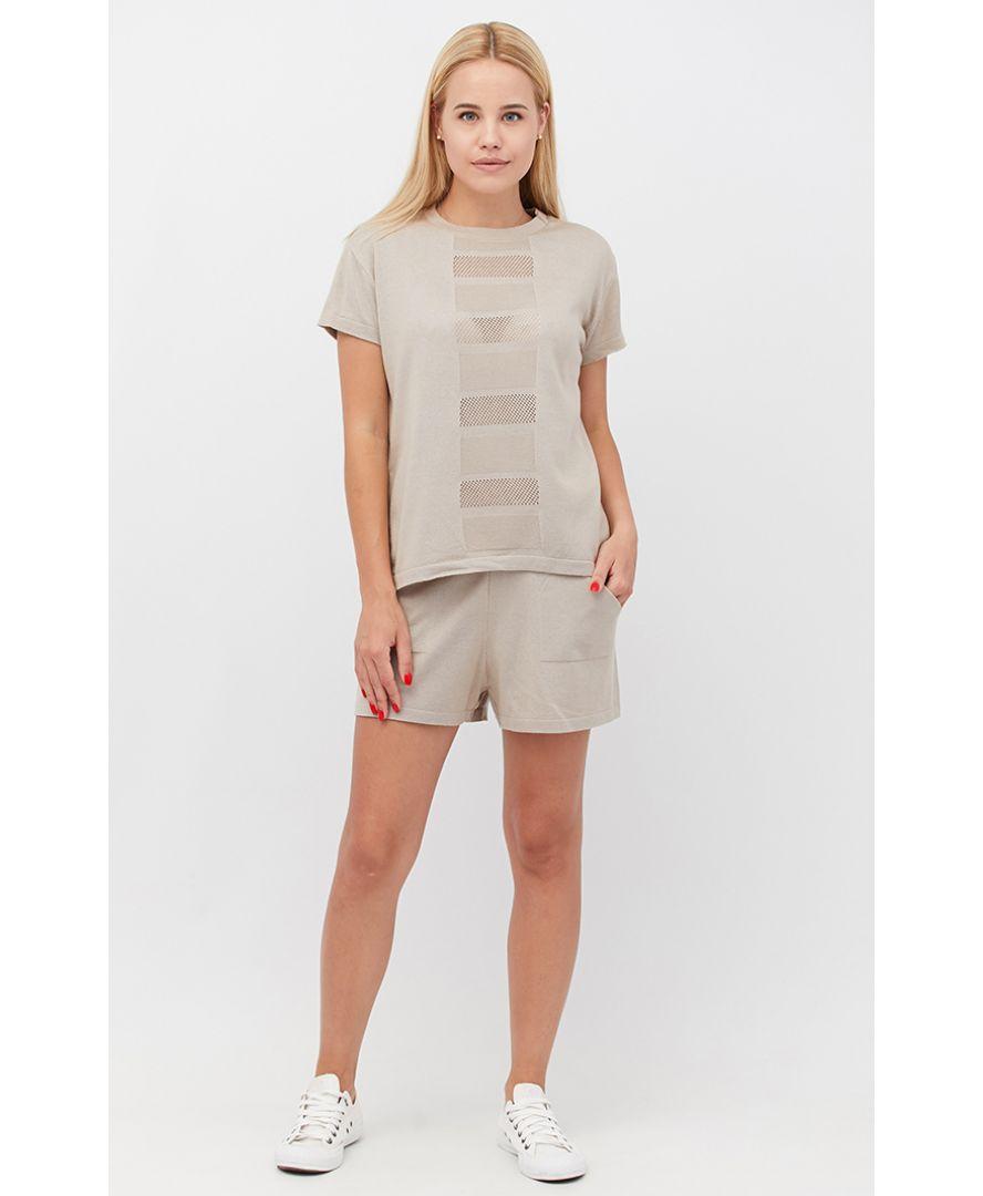 Костюм футболка и шорты Set-breeze бежевый