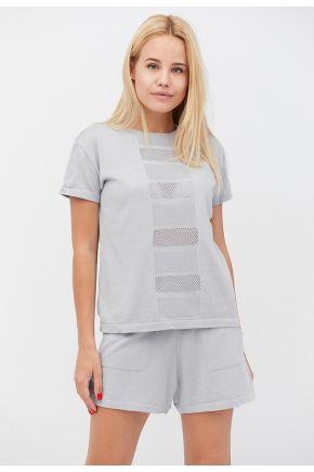 Костюм футболка и шорты Set-breeze серый