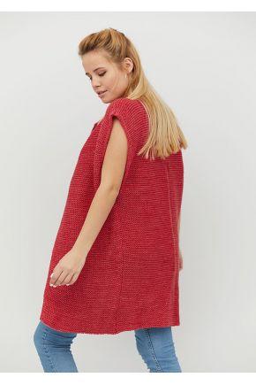 Вязаная жилетка короткая красный меланж
