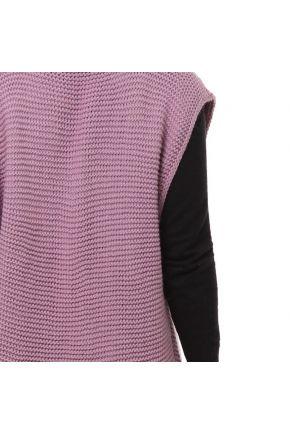Вязаная жилетка короткая тауп розовый
