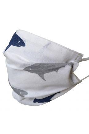 Маска - повязка детская многоразовая на резинке Акула -2ед.