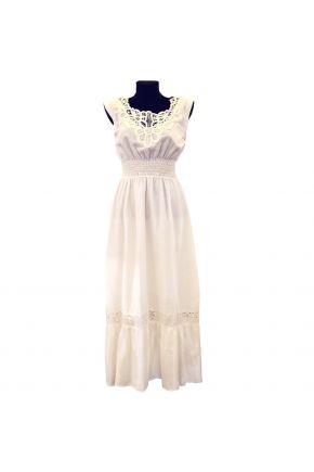 Белое длинное женское платье Ришелье
