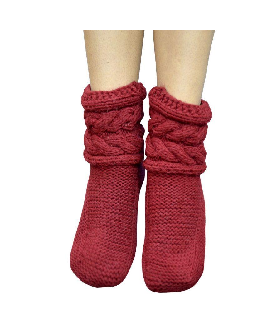 Вязаные носки гранат