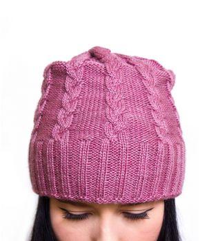Шапка женская коса кремово-розовая