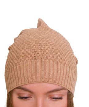Женская шапка вязаная бронза
