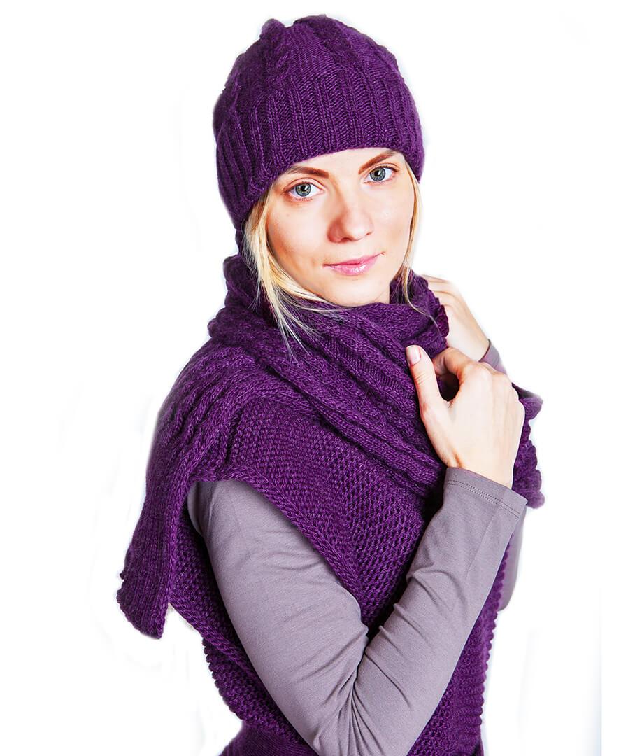 Вязаный шарф коса шелковица