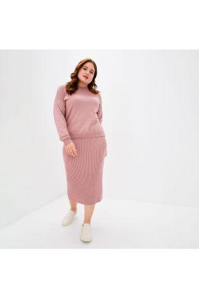 Костюм вязаный с юбкой Katrin Темно-розовый
