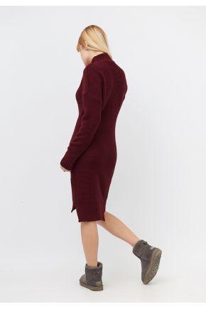 Платье теплое вязаное бордо