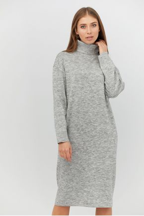 Платье вязаное МИДИ серый меланж