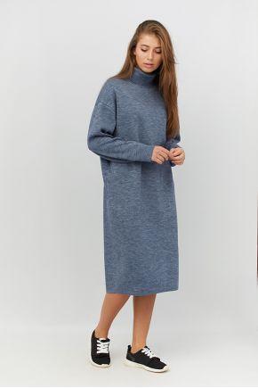 Платье вязаное МИДИ синий меланж