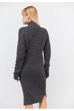 Платье вязаное теплое графит