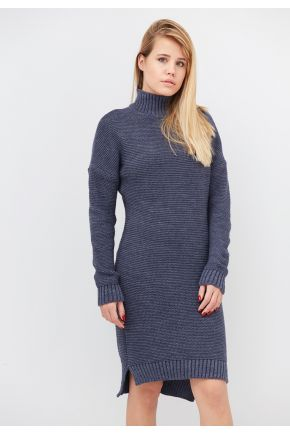 Вязаное женское теплое платье синий меланж