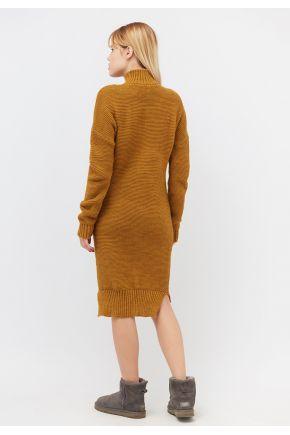 Женское платье теплое вязаное шафран