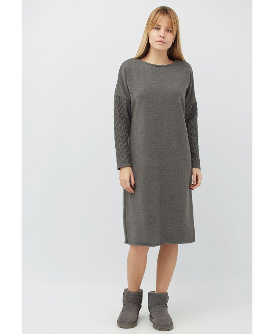 8f02760ba79 ≡ Женское платье вязаное Марго графит купить в Украине  Киев