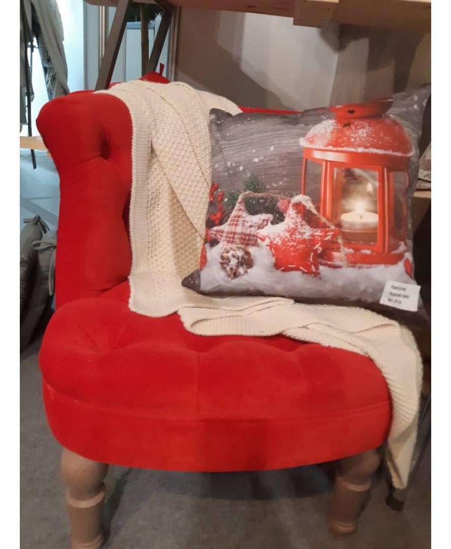 Кресло велюр красное