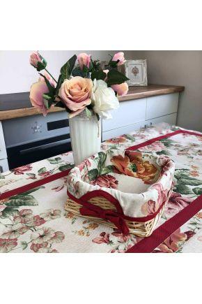Хлебница декоративная плетенная Глория с чехлом Розы