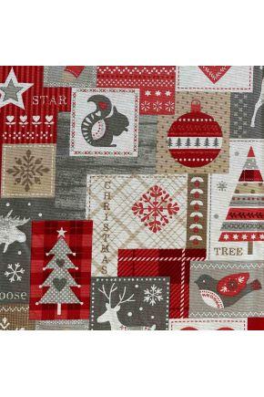 """Ткань для столового текстиля 3203211/150008 TJ""""LT""""BONETE 280 8-GRANATE D-35 NEW YEAR Подарочки"""