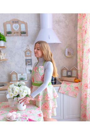 Кухонный детский фартук Пионы