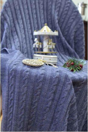 Набор плед и наволочка вязаный Soft синий меланж