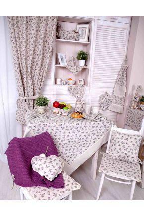 Набор салфетка и скатерть Lilac rose ТМ Прованс с кружевом